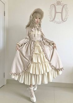 UPDATE: Henrietta [-✿✿-Antique Victorian Doll-✿✿-] Long Version OP Dres [-✔-In Beige Grey X Beige Colorway-✔-]