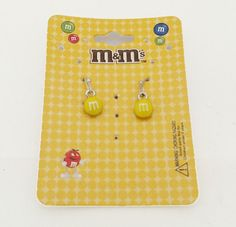 M&M 's Yellow Hanging Earrings (Official Licensed Product) Fashion Jewelry