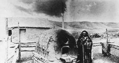 Cree man by outdoor oven, Lebret, NWT (SK), 1885. Photo: O.B. Buell
