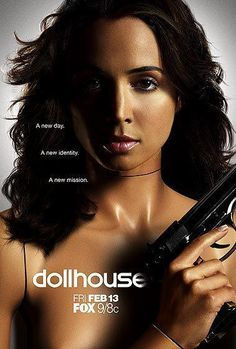 """This is rather old but Dollhouse was a TV show featuring several types of MK programming. This ad shows a """"doll"""" as a mannequin holding a gun: Delta aka Killer programming. Dollhouse Tv Series, Plus Tv, Eliza Dushku, A Discovery Of Witches, Internet Movies, Joss Whedon, Buffy The Vampire Slayer, Best Tv, Favorite Tv Shows"""