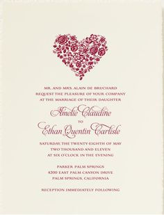 heart wedding invitation from betsywhite #invitation #heart #love #stationery http://www.betsywhite.com/ava-wedding-invitation-1859-prd1.htm