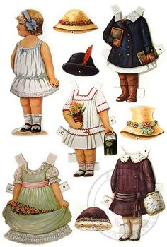 I love things like this! ~Emily  Baby Anne Paper Doll Die Cut Set along with old Hollywood actresses such as Betty Grable or Judy Garland cut outs.