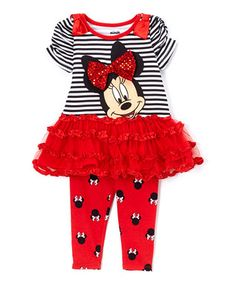 Red & Gray Minnie Mouse Tunic & Leggings - Girls