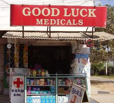 """A roadside pharmacy known as """"chemist shops"""" in India"""