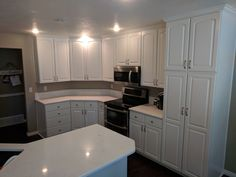 Kitchen refinished in Sherwin Williams Pure White by Chameleon Painting SLC Utah. Laundry Room Cabinets, Kitchen Cabinets, Slc Utah, Chameleon, Pure White, Pure Products, Pictures, Painting, Furniture