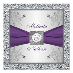 Elegant wedding invitation featuring PRINTED RIBBON Purple Silver
