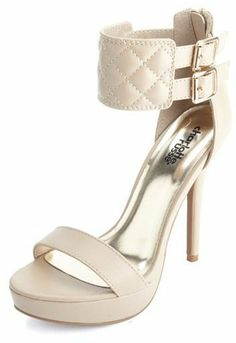 Charlotte Russe Quilted Ankle Cuff Platform Heels