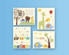 Baby Room decor Nursery Art Decor Kids Print set by DesignByMaya, $65.00