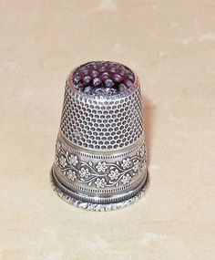 CHRISTMAS CoUpOn SaLe! Antique 800 Silver Embossed Flowers & Leaves Purple Glass Stone Top Germany Thimble