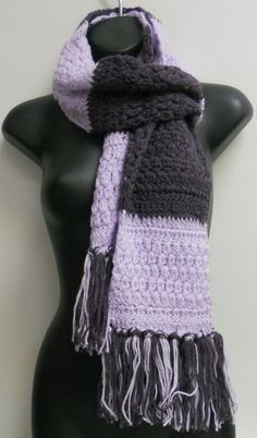 2 Tone Lilac / Purle  Handmade Scarf  with Tassel / by lanesamarie