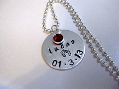 New Baby Necklace Birth Date Jewelry Personalized by CharmAccents, $25.00