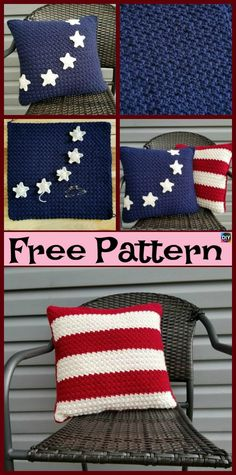 These Crochet Americana Pillow Free Patterns are designed to look like the American Flag, they would be great gifts for the of July, and it is coming Crochet Cushions, Crochet Pillow, Crochet Bear, Crochet Home, Crochet Gifts, Diy Crochet, Crochet Afghans, Yarn Projects, Knitting Projects