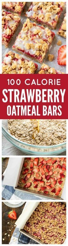 These buttery Strawberry Oatmeal Bars are only 100 CALORIES EACH!! With a buttery crust, sweet strawberry filling, and delicious crumb topping, they make wonderful dessert bars to take to a party or potluck but are healthy enough for a snack. So easy even kids can make them! @wellplated http://www.wellplated.com