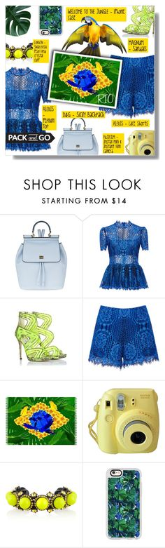 """""""PACK AND GO: RIO"""" by larissa-takahassi ❤ liked on Polyvore featuring Dolce&Gabbana, Alexis, Jimmy Choo, Fujifilm, Lanvin and Casetify"""