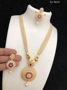 Temple jewellery available at AnkhJewels for booking WhatsApp on - Gold Jewelry Pearl Necklace Designs, Gold Earrings Designs, Pearl Jewelry, Gold Necklace, Necklace Ideas, Silver Jewellery, Clay Jewelry, Pendant Jewelry, Silver Earrings