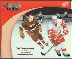 f3b7f6858 Details about Detroit News NHL Red Wings Captain Gordie Howe Steve Yzerman  8 x 10 card stock