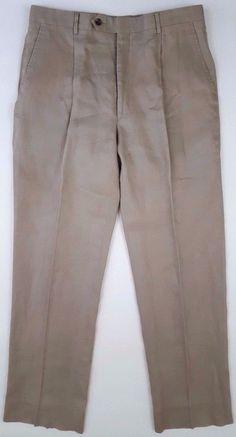 JOS a BANK Linen PANTS Trousers BEIGE Taupe MENS Size SZ Pleated PANT 34 32 Man* #JosABank #DressPleat