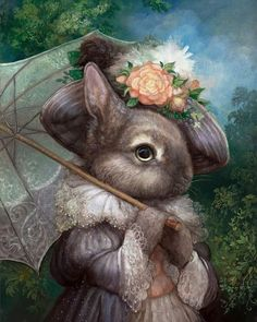 Art And Illustration, Illustrations, Fantasy Kunst, Fantasy Art, Animal Original, Lapin Art, Art Fantaisiste, Art Mignon, Umbrella Art