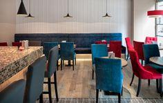 Ideas de #Cafeteria, Bar, Restaurante, estilo #Kitsch color  #Rojo,  #Azul,  #Marron, diseñado por AIMA Estudio  #CajonDeIdeas