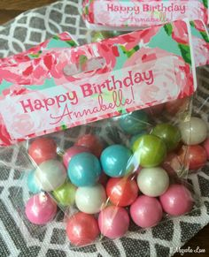 Lilly Pulitzer inspired treat bags filled with colorful gumballs make a great birthday party favor or goodie bag.