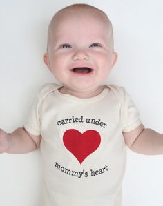 "Valentine Gifts for the Baby:  ""Carried Under Mommy's Heart"" Organic Baby Bodysuit Onsie by Pineapple Pete Kids @ Etsy"