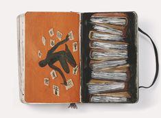 Seizing the Day Moleskine Pen, Moleskine Diary, Artist Journal, Sketchbook Pages, Bullet Journal Art, Paper Artwork, Visual Diary, Collages, Handmade Books