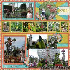 #disney #scrapbook layout for #epcotinspring - 2009 Topiaries
