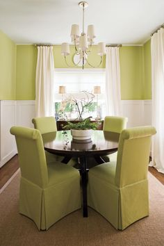 Make a Small Dining Room Look Larger - 79 Stylish Dining Room Ideas - Southernliving. Visually expand a small dining room by keeping the palette monochromatic and furnishing it with a round table and armless dining chairs. This crisp green dining room feels airy and open even though the space is small.  See More Style Secrets from a Design Pro