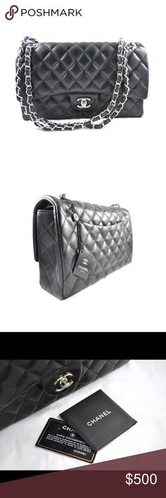 Chanel Black Classic Medium Flap Bag Black classic leather medium-sized quilted Chanel flap bag with double silver rope chain. Inside features red leather interior with two compartments. Fine, high-quality replica for women who want a luxury, polished look for a fraction of the price. Includes duster bag and tags. Chanel Inspired Bags Shoulder Bags