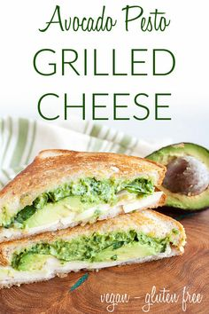 Avocado Pesto Grilled Cheese (vegan, gluten free) - This easy sandwich is rich and savory. Made in minutes, it's perfect for a weeknight meal. #vegangrilledcheese #vegansandwich #avocadopesto