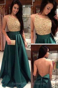 Long Formal Dresses Green, A-line Formal Dress Silk-like, Lace Evening Dresses, Scoop Neck Party Dresses