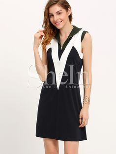 11$  Buy now - http://die9m.justgood.pw/go.php?t=378 - Navy Color Block Shift Dress 11$