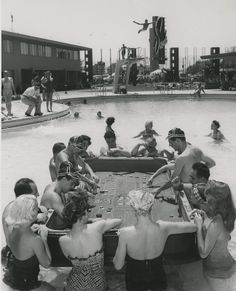 Photograph of a floating craps game in the Sands Hotel swimming pool (Las Vegas), 1954
