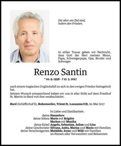 Todesanzeige Renzo Santin ✝