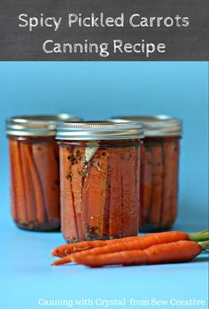 Spicy Pickled Carrots Canning Recipe along with Canning Tips & Tricks, Honey & Rosemary Blackberry Jam, Sweet Crunchy Pickles, Refrigerator Pickles & Blueberry Baked Brie Topping Dill Carrots, Canned Carrots, Pickled Carrots, Pickling Carrots Recipe, Pickled Eggs, Canning Recipes, Canning 101, Freezer Recipes, Chutney