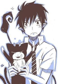 blue exorcist rin and his cat - Google Search