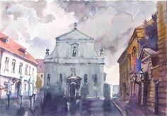 Zagreb,akvarel,,crkva Sv. KAtarine,55x34