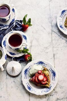 Sweetly Herbed Matzah Brei with Strawberry in Rhubarb Sauce, Tarragon Cream
