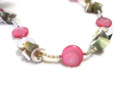 Pink Shell and Pearl Necklace. I love working with shells, this is just one example. Contact me anytime for special orders.