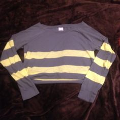 VS Pink Long sleeve crop top PINK long sleeve crop. Gray and yellow stripes. Lightweight. Brand new condition.   💸 Reasonable offers considered.  ↘️ Use OFFER button.   🚫 NO TRADES! ⚡️Fast Shipper! PINK Victoria's Secret Tops Tees - Long Sleeve