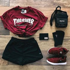 This Outfit is for all you people who love red trust me tap the link and buy this outfit. Cute Lazy Outfits, Teenage Girl Outfits, Girls Fashion Clothes, Teen Fashion Outfits, Teenager Outfits, Edgy Outfits, Swag Outfits, Mode Outfits, Retro Outfits