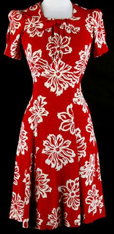 40s Red Rayon Puffy Sleeve Floral Swing Dress. 1940's dress. * Red rayon crepe * White floral print * Puffy sleeves * Metal side zipper