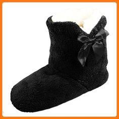 Jyoti Damen Faux Wildleder Furry Pantoletten Slipper Damen Pantoffeln Größe UK 345678, Schwarz - Schwarz - Größe: 36 EU