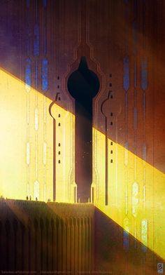 Illustration inspiration by Christopher Balaskas. Fantasy Places, Fantasy World, Dungeons E Dragons, Fantasy Concept Art, Fantasy Artwork, Animation Background, Matte Painting, Science Fiction Art, Visual Development