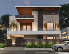 We are an enthusiasts who just love interesting, unique, creative and functional projects with architecture & interior design, visualization, branding and product design. Modern Bungalow Exterior, Modern Exterior House Designs, Best Modern House Design, Modern Exterior Products, Modern Contemporary House, Modern House Facades, Architect Design House, Bungalow House Design, House Front Design