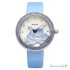 Damen Armbanduhr 3D Lotus Blüte mit Zirkonien silber blau, 99,99