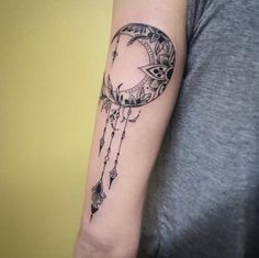 Ornamental Moon Tattoo by Madison Mclain