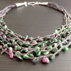 Green stone necklace Multilayer necklace Handmade linen by Adanemi