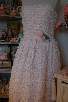 vintage pink dress with lace ruffles