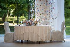 Fairytale wedding #flowers #curtain #bride #groom #table #colorful #wedding #flowerdipity #events Bride Groom, Fairytale, Wedding Flowers, Events, Colorful, Curtains, Table Decorations, Furniture, Home Decor